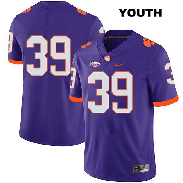Stitched Aidan Swanson Clemson Tigers no. 39 Youth Nike Purple Legend Authentic College Football Jersey - No Name - Aidan Swanson Jersey