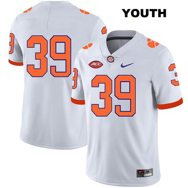 Aidan Swanson Stitched Clemson Tigers no. 39 Nike Youth White Legend Authentic College Football Jersey - No Name - Aidan Swanson Jersey