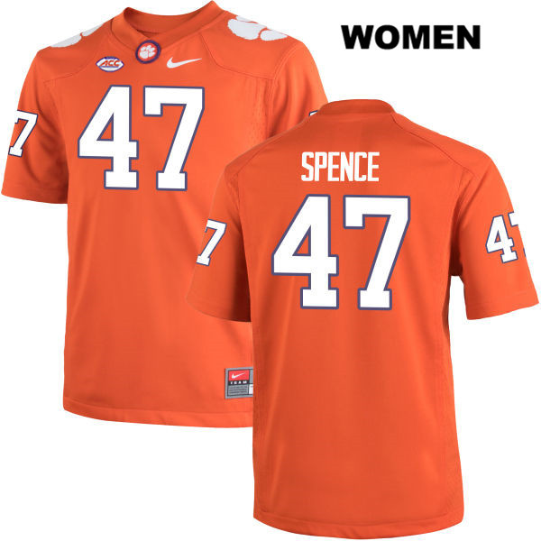 Alex Spence Nike Clemson Tigers no. 47 Womens Orange Stitched Authentic College Football Jersey - Alex Spence Jersey