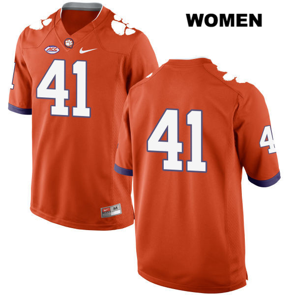 Nike Alex Spence Clemson Tigers Stitched no. 41 Womens Orange Style 2 Authentic College Football Jersey - No Name - Alex Spence Jersey