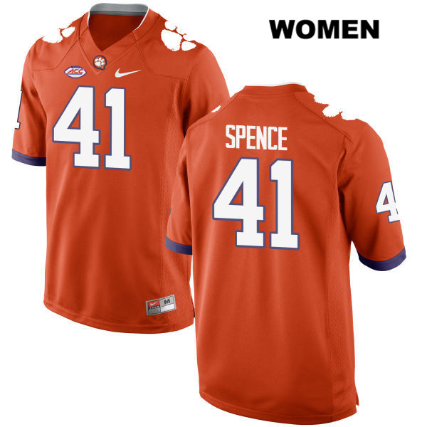 Nike Alex Spence Clemson Tigers Style 2 no. 41 Womens Orange Stitched Authentic College Football Jersey - Alex Spence Jersey