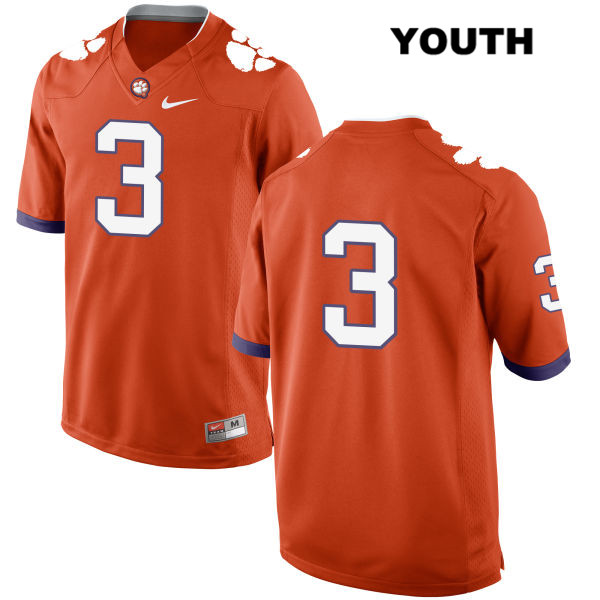 Amari Rodgers Stitched Clemson Tigers no. 3 Youth Nike Orange Authentic College Football Jersey - No Name - Amari Rodgers Jersey