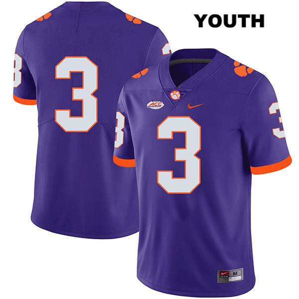 Amari Rodgers Nike Clemson Tigers no. 3 Stitched Youth Legend Purple Authentic College Football Jersey - No Name - Amari Rodgers Jersey