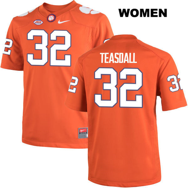 Andy Teasdall Clemson Tigers no. 32 Womens Nike Orange Stitched Authentic College Football Jersey - Andy Teasdall Jersey