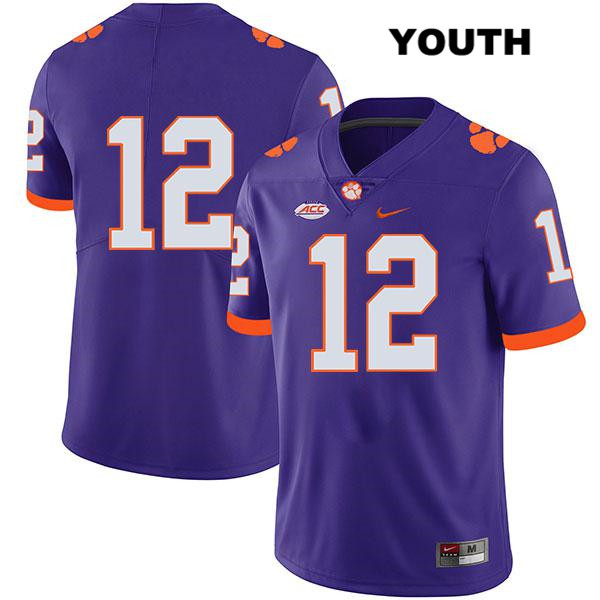 Ben Batson Legend Clemson Tigers no. 12 Nike Stitched Youth Purple Authentic College Football Jersey - No Name - Ben Batson Jersey