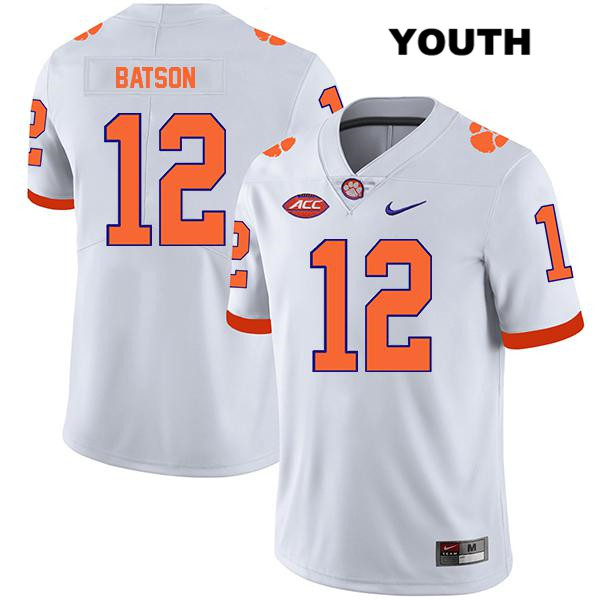 Ben Batson Nike Clemson Tigers Legend no. 12 Youth Stitched White Authentic College Football Jersey - Ben Batson Jersey