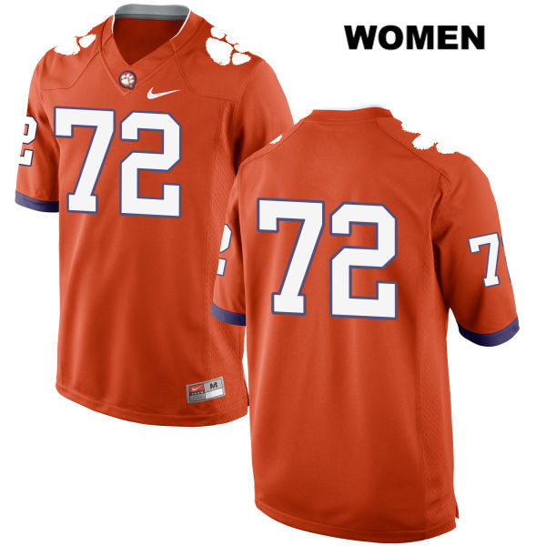 Stitched Blake Vinson Clemson Tigers no. 72 Womens Orange Nike Authentic College Football Jersey - No Name - Blake Vinson Jersey