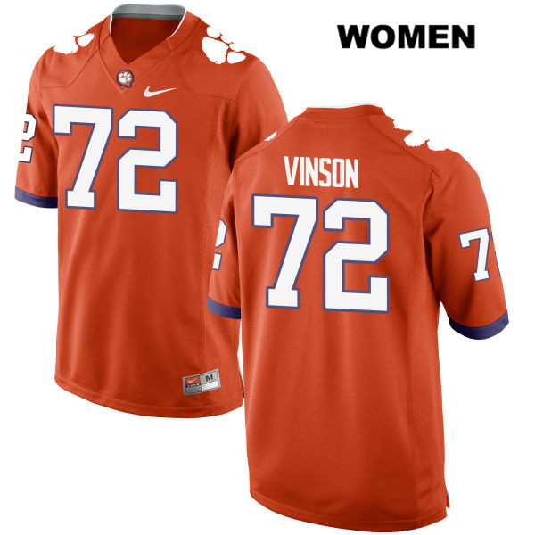 Blake Vinson Clemson Tigers Stitched no. 72 Womens Nike Orange Authentic College Football Jersey - Blake Vinson Jersey