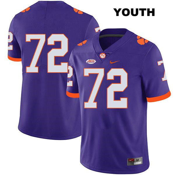 Blake Vinson Clemson Tigers Legend no. 72 Youth Nike Purple Stitched Authentic College Football Jersey - No Name - Blake Vinson Jersey
