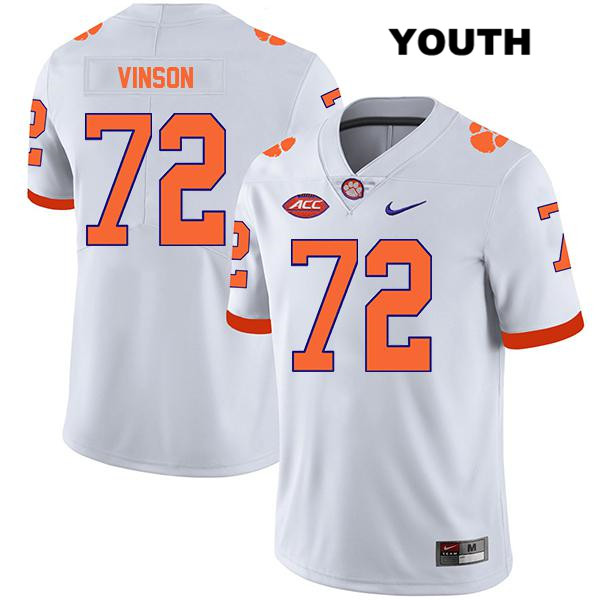Blake Vinson Legend Clemson Tigers Nike no. 72 Stitched Youth White Authentic College Football Jersey - Blake Vinson Jersey