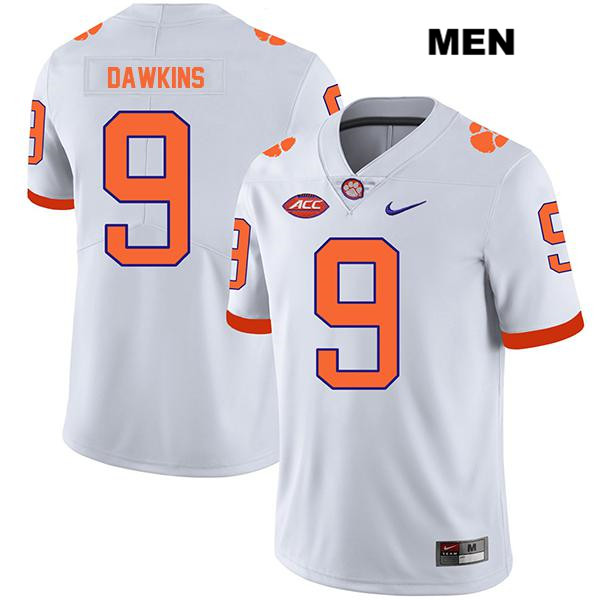 Stitched Brian Dawkins Jr. Clemson Tigers no. 9 Legend Mens White Nike Authentic College Football Jersey