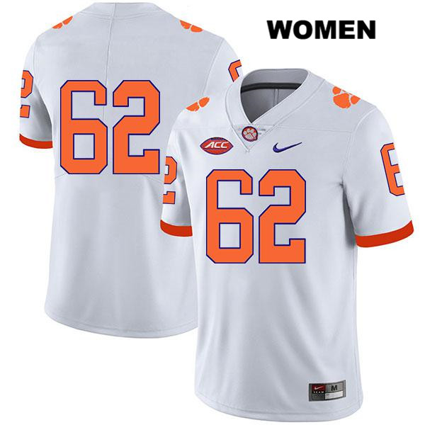 Cade Stewart Nike Clemson Tigers Legend no. 62 Stitched Womens White Authentic College Football Jersey - No Name - Cade Stewart Jersey