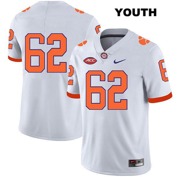 Cade Stewart Stitched Clemson Tigers Nike no. 62 Legend Youth White Authentic College Football Jersey - No Name - Cade Stewart Jersey