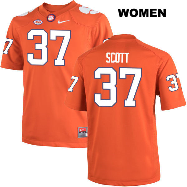 Cameron Scott Clemson Tigers Stitched no. 37 Womens Orange Nike Authentic College Football Jersey - Cameron Scott Jersey