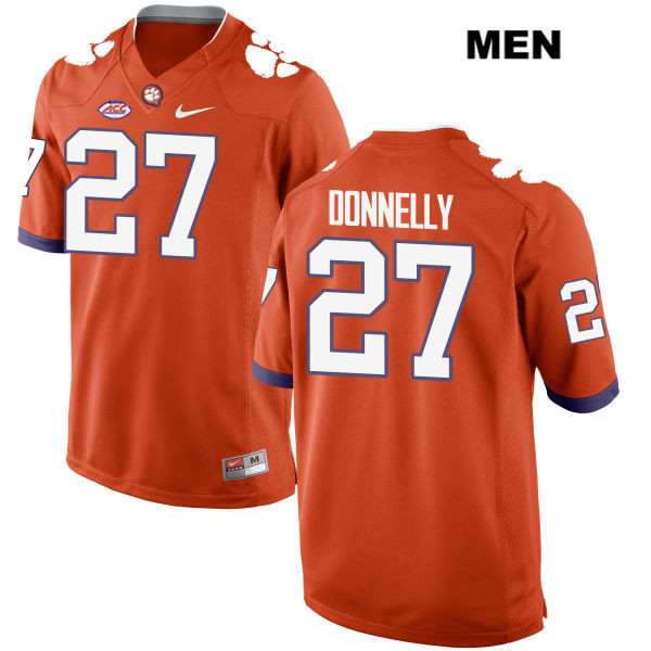 Carson Donnelly Clemson Tigers Style 2 no. 27 Nike Stitched Mens Orange Authentic College Football Jersey - Carson Donnelly Jersey