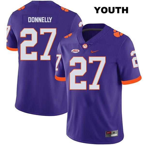 Carson Donnelly Legend Clemson Tigers no. 27 Stitched Youth Purple Nike Authentic College Football Jersey - Carson Donnelly Jersey