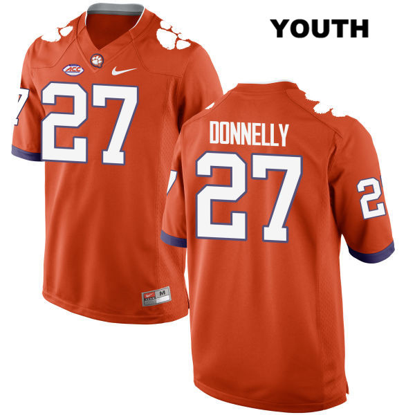Carson Donnelly Stitched Clemson Tigers no. 27 Youth Style 2 Orange Nike Authentic College Football Jersey - Carson Donnelly Jersey