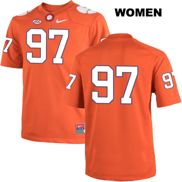 Carson King Clemson Tigers Stitched no. 97 Womens Nike Orange Authentic College Football Jersey - No Name - Carson King Jersey