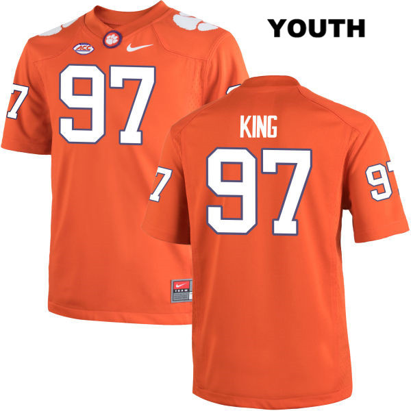 Carson King Clemson Tigers no. 97 Stitched Youth Orange Nike Authentic College Football Jersey - Carson King Jersey