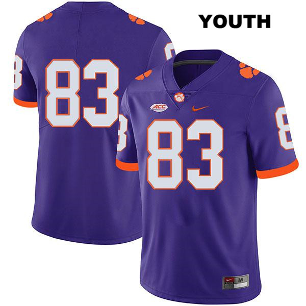 Carter Groomes Stitched Clemson Tigers no. 83 Youth Legend Purple Nike Authentic College Football Jersey - No Name - Carter Groomes Jersey