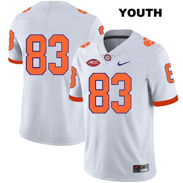 Carter Groomes Clemson Tigers Nike no. 83 Legend Youth Stitched White Authentic College Football Jersey - No Name - Carter Groomes Jersey