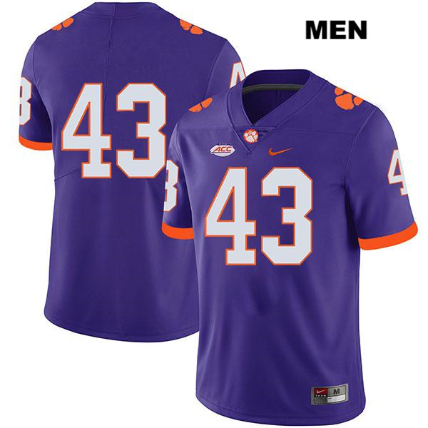 Chad Smith Clemson Tigers Stitched no. 43 Legend Mens Nike Purple Authentic College Football Jersey - No Name