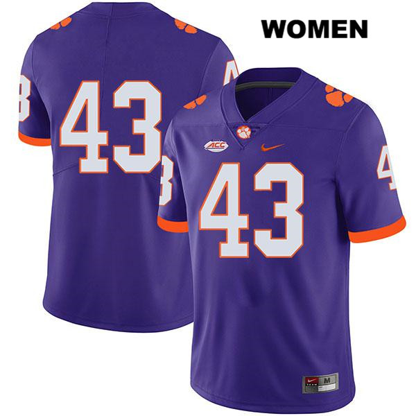 Chad Smith Nike Clemson Tigers no. 43 Womens Legend Purple Stitched Authentic College Football Jersey - No Name