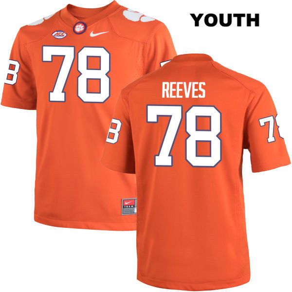 Chandler Reeves Clemson Tigers Stitched no. 78 Youth Orange Nike Authentic College Football Jersey - Chandler Reeves Jersey