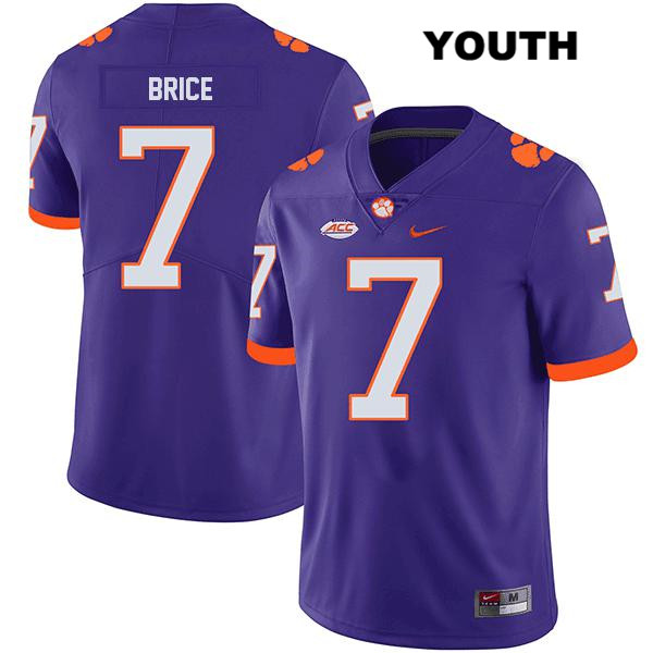 Chase Brice Nike Clemson Tigers Stitched no. 7 Youth Legend Purple Authentic College Football Jersey - Chase Brice Jersey