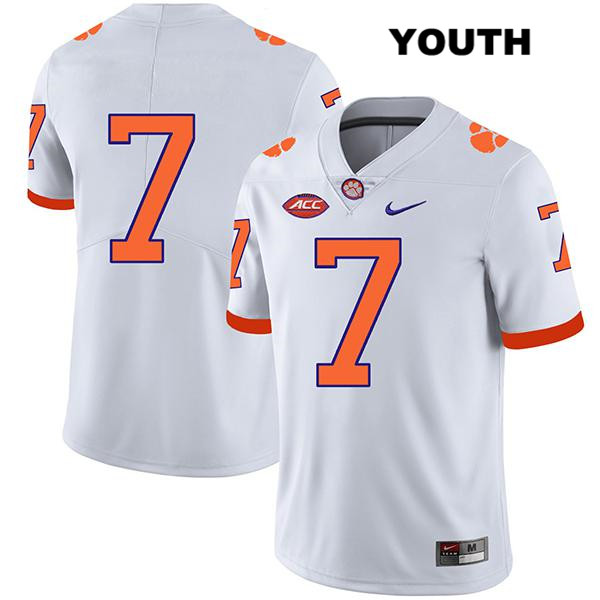 Chase Brice Stitched Clemson Tigers Legend no. 7 Nike Youth White Authentic College Football Jersey - No Name - Chase Brice Jersey