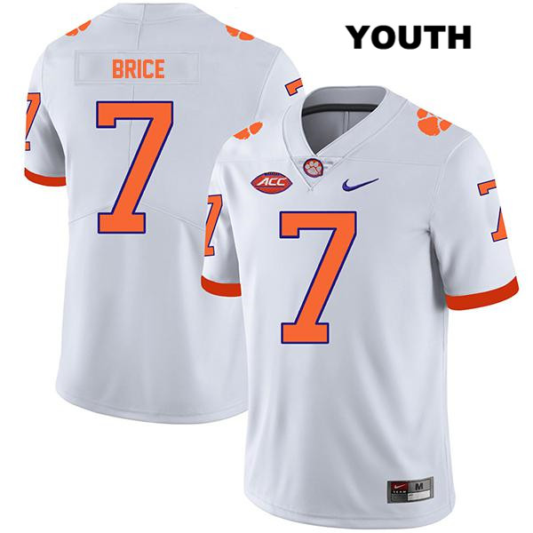 Chase Brice Clemson Tigers no. 7 Legend Stitched Youth White Nike Authentic College Football Jersey - Chase Brice Jersey
