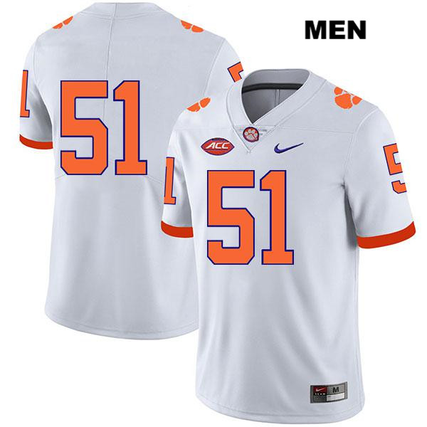 Chase Guynup Clemson Tigers no. 51 Nike Mens Legend Stitched White Authentic College Football Jersey - No Name - Chase Guynup Jersey
