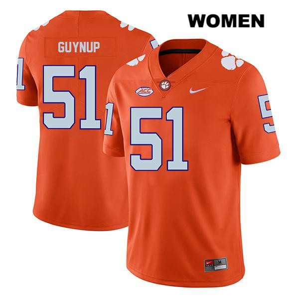 Chase Guynup Legend Clemson Tigers no. 51 Womens Stitched Orange Nike Authentic College Football Jersey - Chase Guynup Jersey