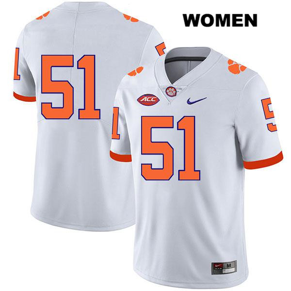 Chase Guynup Stitched Clemson Tigers Legend no. 51 Womens Nike White Authentic College Football Jersey - No Name - Chase Guynup Jersey