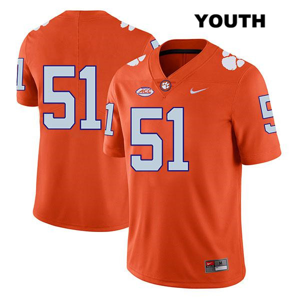 Chase Guynup Clemson Tigers Nike no. 51 Legend Youth Stitched Orange Authentic College Football Jersey - No Name - Chase Guynup Jersey
