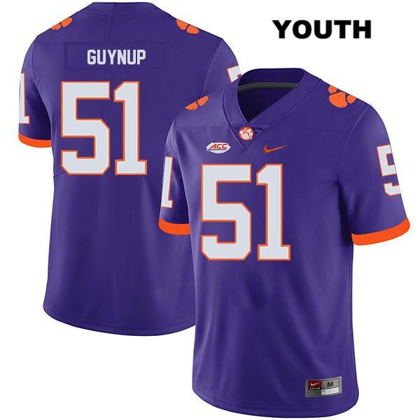 Chase Guynup Stitched Clemson Tigers no. 51 Legend Youth Purple Nike Authentic College Football Jersey - Chase Guynup Jersey