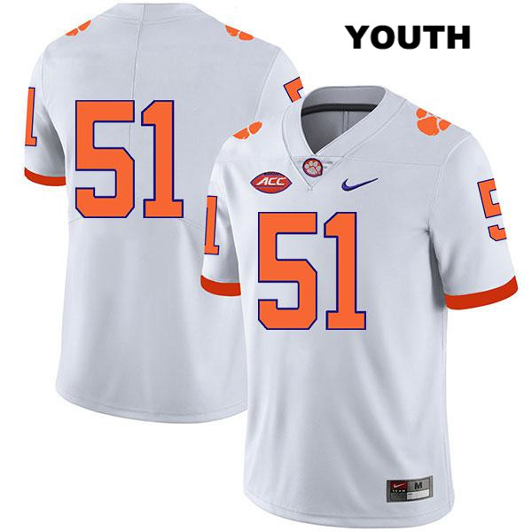 Chase Guynup Legend Clemson Tigers no. 51 Nike Youth White Stitched Authentic College Football Jersey - No Name - Chase Guynup Jersey