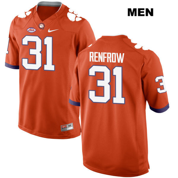 Style 2 Cole Renfrow Clemson Tigers Nike Stitched no. 31 Mens Orange Authentic College Football Jersey - Cole Renfrow Jersey