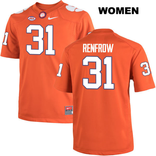 Cole Renfrow Stitched Nike Clemson Tigers no. 31 Womens Orange Authentic College Football Jersey - Cole Renfrow Jersey