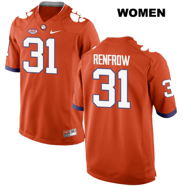 Style 2 Cole Renfrow Clemson Tigers no. 31 Nike Womens Orange Stitched Authentic College Football Jersey - Cole Renfrow Jersey