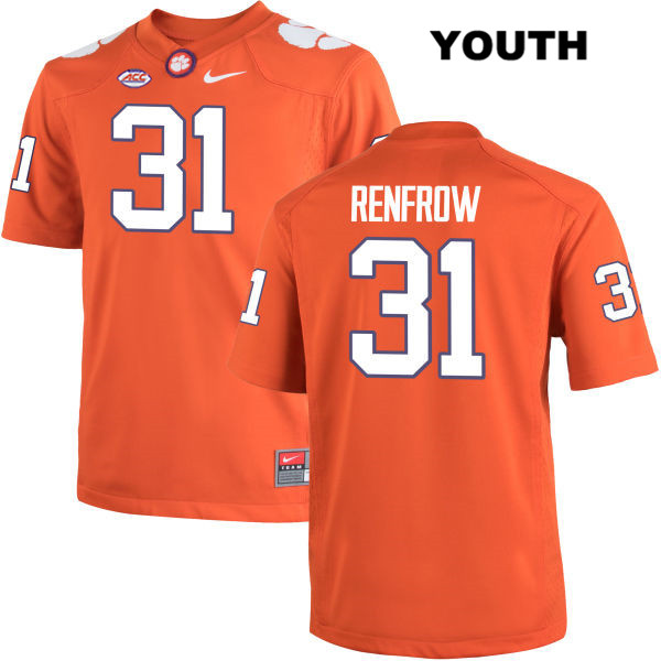 Cole Renfrow Stitched Clemson Tigers Nike no. 31 Youth Orange Authentic College Football Jersey - Cole Renfrow Jersey