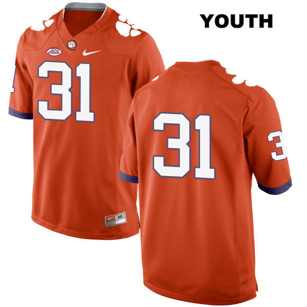 Cole Renfrow Nike Clemson Tigers Style 2 no. 31 Youth Stitched Orange Authentic College Football Jersey - No Name - Cole Renfrow Jersey