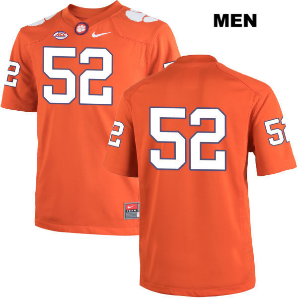 Stitched Connor Prevost Clemson Tigers Nike no. 52 Mens Orange Authentic College Football Jersey - No Name - Connor Prevost Jersey