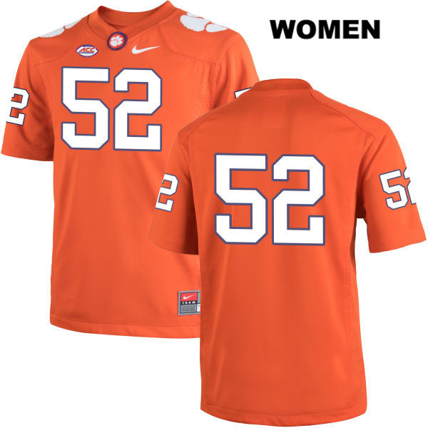 Connor Prevost Stitched Clemson Tigers no. 52 Womens Orange Nike Authentic College Football Jersey - No Name - Connor Prevost Jersey