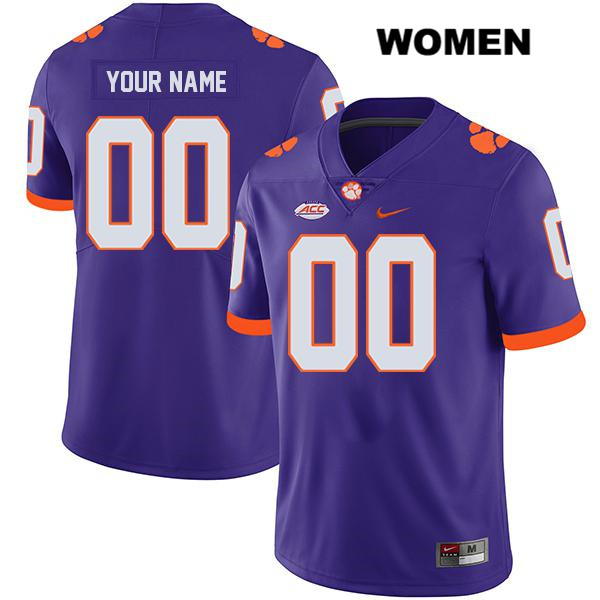 Customize Clemson Tigers Legend customize Womens Stitched Purple Nike Authentic College Football Jersey - Customize Jersey