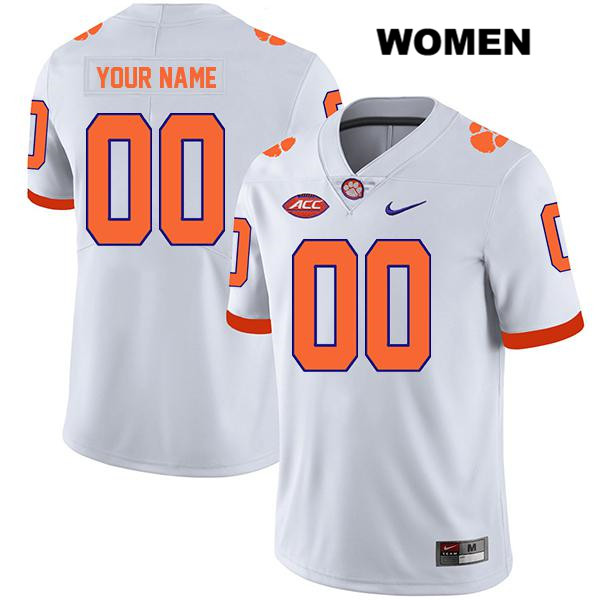 Nike Customize Clemson Tigers Legend customize Womens Stitched White Authentic College Football Jersey - Customize Jersey