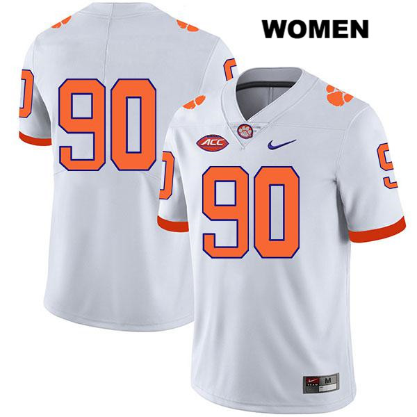 Darnell Jefferies Nike Clemson Tigers Stitched no. 90 Womens White Legend Authentic College Football Jersey - No Name - Darnell Jefferies Jersey