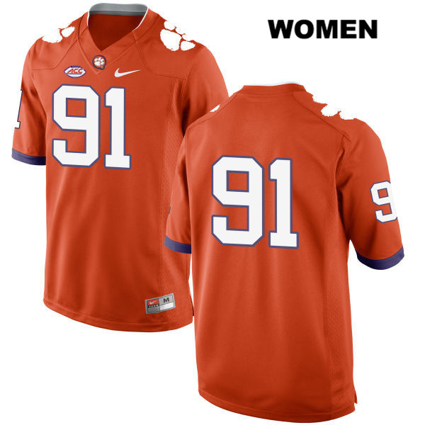Darnell Jefferies Clemson Tigers Style 2 no. 91 Womens Orange Nike Stitched Authentic College Football Jersey - No Name - Darnell Jefferies Jersey