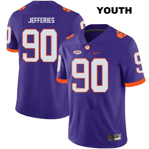 Darnell Jefferies Clemson Tigers Legend no. 90 Nike Youth Stitched Purple Authentic College Football Jersey - Darnell Jefferies Jersey