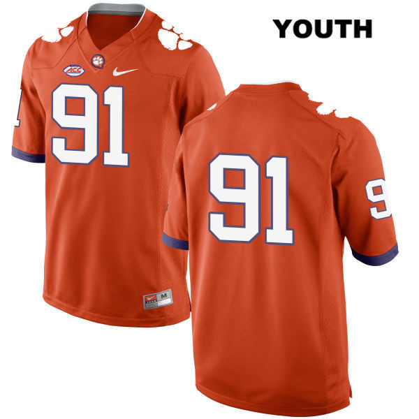 Darnell Jefferies Stitched Clemson Tigers Nike no. 91 Youth Orange Style 2 Authentic College Football Jersey - No Name - Darnell Jefferies Jersey